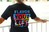 Detail of the back of the Black Flavor Your Life Tie-Dye Simulated tee.