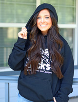 Girl wearing Black Hoodie