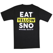 "The back of a black short sleeved tee that says ""Eat Yellow Sno"""