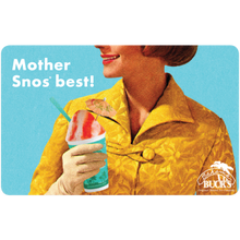 "A gift card with a woman holding a Sno that says ""Mother Sno's best!"""