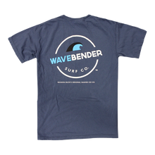 """The back of the wavebender tee with a wave and the words """"Wavebender Surf Co."""""""