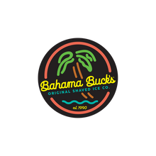 """A circular sticker that looks like a coral, yellow, lime green, and blue neon sign with a palm tree, water, and the words """"Bahama Buck's"""""""