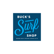 """A square navy blue sticker that says """"Buck's Surf Shop"""""""