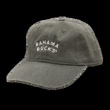 A dark gray baseball cap with white text that says Bahama Buck's