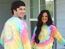 Boy and girl wearing tie-dye shirt