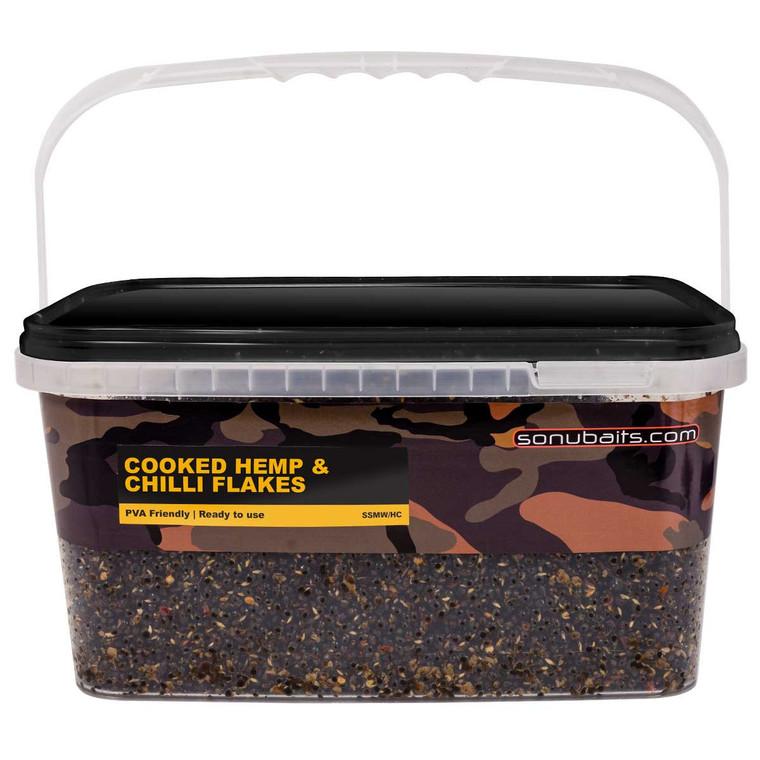 Sonubaits Cooked Hemp & Chilli Flakes 3kg Bucket