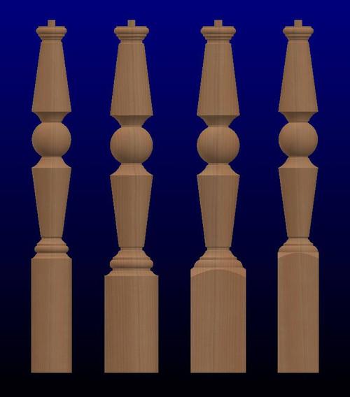 K02 Series Oversized Newel Posts-Wood Newel Posts-Large Turned Newel Posts