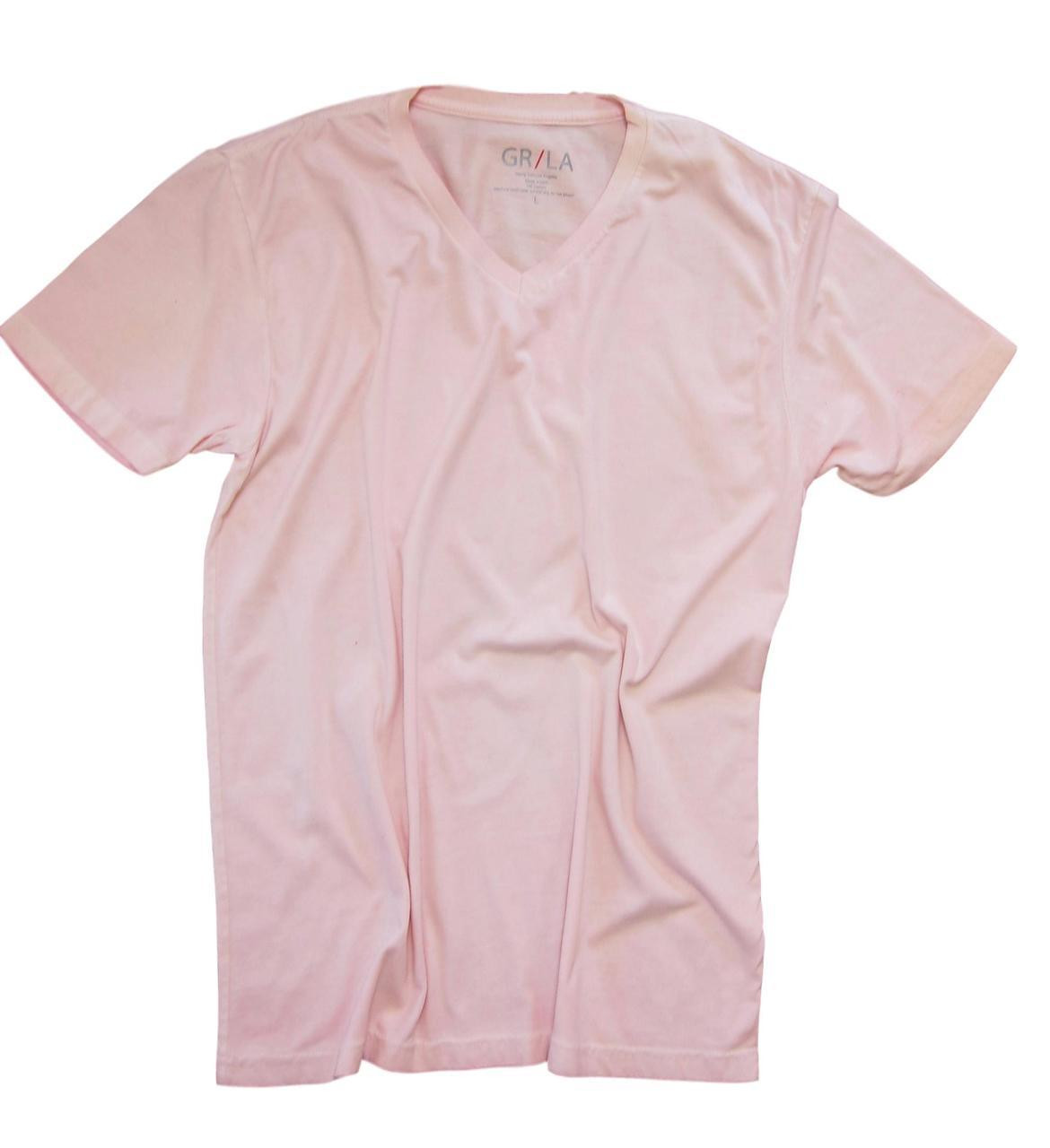 58a9d4d71190d Men s Short Sleeves - V-Neck - T-Shirt Color Pink   Garment Dyed
