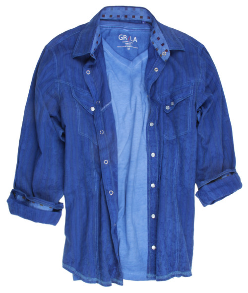 Long-Sleeves-Garment Dyed -Snaps-Mens-shirt Wear this shirt open as an overshirt with one of our T's and feel great. GRLA-V-5017-ROYAL BLUE- GARMENT DYED - SHORT-SLEEVES-T-SHIRT 83% Cotton / 17% Cupro