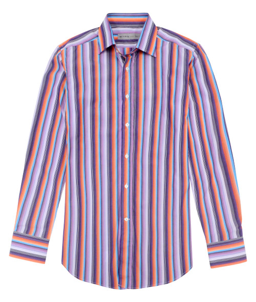 Style, elegance, and quality are the hallmarks of the world-famous Italian designer label Etro. Featuring stripes done in vivid, saturated tones of purple, coral, and aqua. Looks absolutely fabulous when paired with a sharp sport coat. Transitions easily from day to night. 100% Cotton.