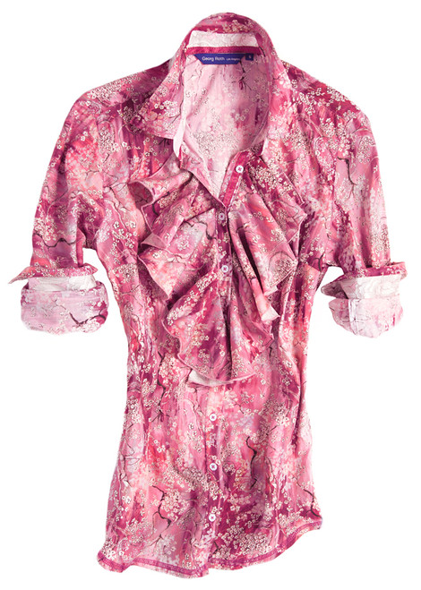 This lovely Georg Roth Los Angeles Lauren long sleeve blouse is a real eye-catcher. The charming and color-rich Liberty of London pink & off-white cherry blossom print is detailed with a gorgeous ruffle front. Highlighted with a Liberty of London ivory floral print inside the collar stand, cuffs & on the flip-side of ruffle. Finishing touches of a magenta ribbon inside the collar and inside front placket. 100% Cotton