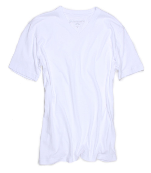 The World's Greatest T-Shirt by Georg Roth Los Angeles  Made of natural materials Our guarantee: 100% Supercombined Pima Cotton / Organic Wash UP TO 60 DEGREES Celcius  Zero percent shrinkage, dryer proof Maximum maturity of elasticity & shape Ecological dyes of supreme quality & free of chemicals White V-Neck