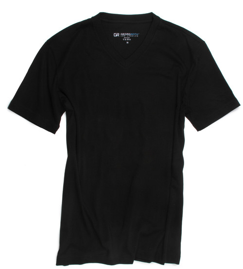 The World's Greatest T-Shirt by Georg Roth Los Angeles  Made of natural materials Our guarantee: 100% Supercombined Pima Cotton / Organic Wash UP TO 60 DEGREES Celcius  Zero percent shrinkage, dryer proof Maximum maturity of elasticity & shape Ecological dyes of supreme quality & free of chemicals Black V-Neck