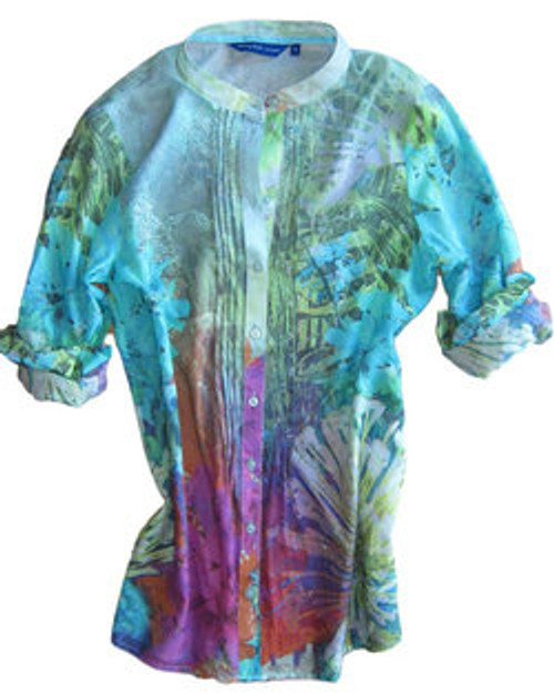 Tropical breezes and warm summer nights..........just perfect to describe this scrumptious abstract watercolor print. Multi color full button up tunic with a relaxed fit.....  front pleating and a banded mandarin collar that enhances this beautiful abstract print......so lovely yet subdued. Dress it up with your jewelry or just as is.  You are sure to enjoy this for any occasion both day or night. 100% Cotton