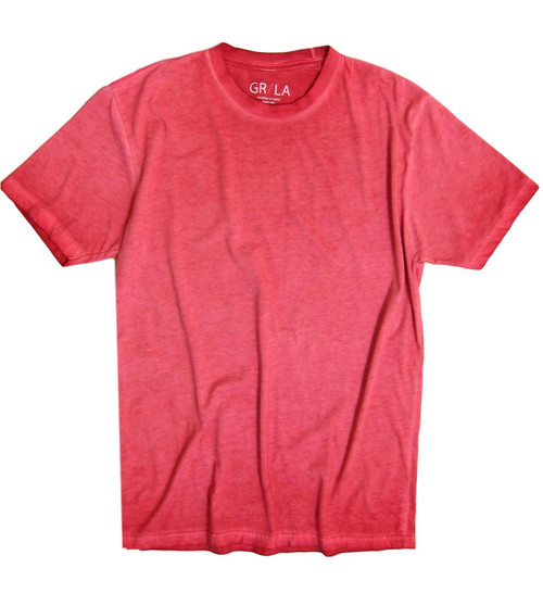 Men's Short Sleeves Crew neck T-Shirt Color Brick / Garment Dyed 60% Cotton / 40% Polyester