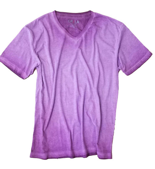 Men's Short Sleeves V-Neck T-Shirt Color Purple / Dyed Washed 60% Cotton / 40% Polyester