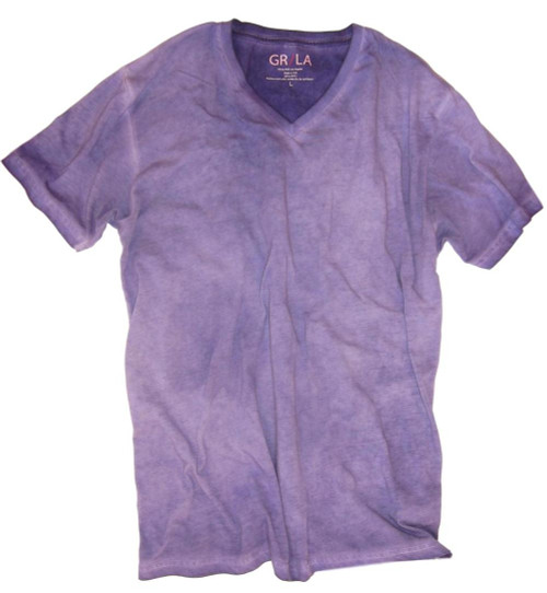 Men's Short Sleeves - V-Neck - T-Shirt Color Purple / Dyed Washed 60% Cotton / 40% Polyester