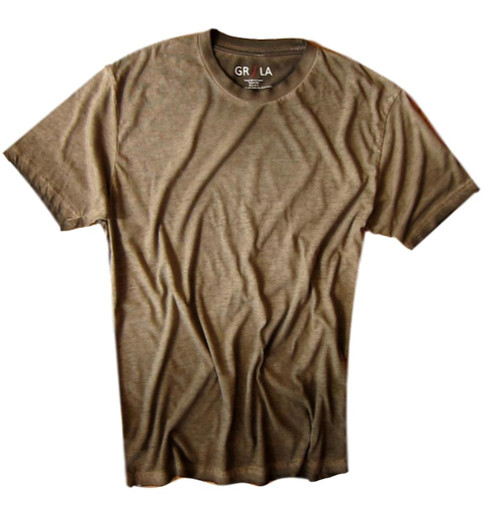 Men's Short Sleeves Crew neck T-Shirt Color Coffee / Garment Dyed 60% Cotton / 40% Polyester
