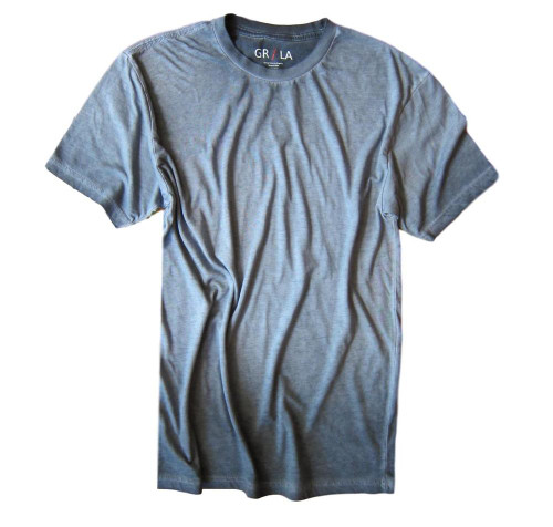 Men's Short Sleeves Crew neck T-Shirt Color Capri Blue / Garment Dyed 60% Cotton / 40% Polyester Made in America