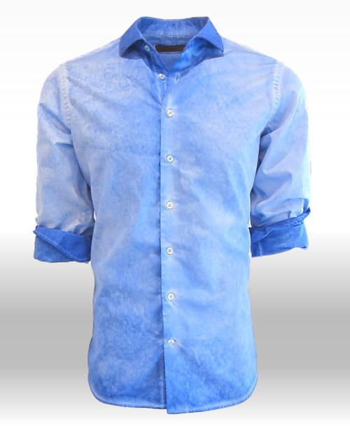 How sharp is this !!!!!!!!! Garment dyed beautiful shades of blue. This very classy, handsome shirt is washed with a slightly darker blue on the collar and cuffs to add it's own originality to this great classic style.  Crisp, Cool and 100% fine cotton.   Soft relaxed Collar You will look great anytime of day or evening for casual or dress