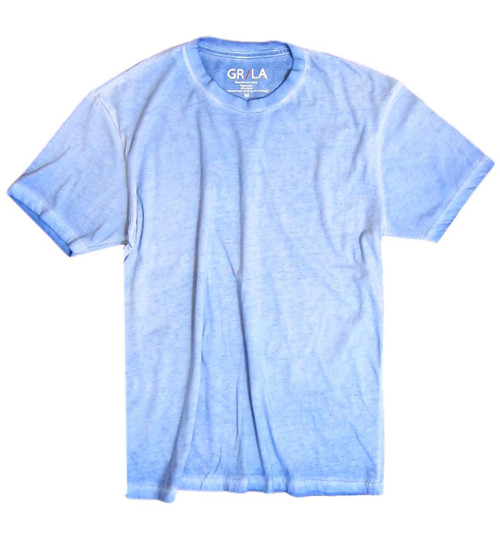Men's Short Sleeves Crew Neck T-Shirt Color Blue Lagoon / Garment Dyed Sizes S - XXXL 60% Cotton / 40% Polyester Made in America