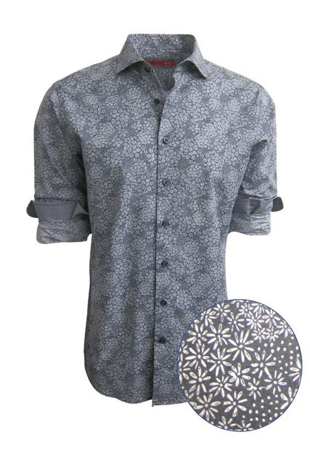 Tissue soft Pima in a rich charcoal and white floral print.  Cuffs and inner placket are trimmed with a mini black and white check making this a fantastic look with denim for dress with a jacket or on its own with the Georg Roth roll of the sleeves. 100% Pima Cotton