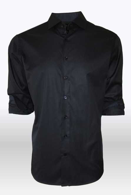 Feel like a million with our soft and yet crisp black on black herringbone pattern, for any dress occasion with a suit, or just on its own for casual with jeans . The inner collar stand and cuffs are trimmed with a charcoal & black very mini plaid.  For those that know and love our shirts , you will be in awe of our elegant black shirt.  100 Pima Cotton Machine wash cold, hand to dry and irons like a dream! Dry Clean is also okay!