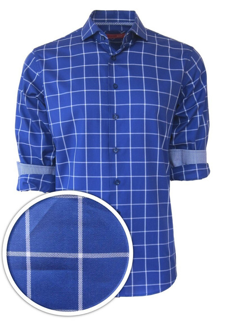 Classic with a twist best describes this handsome windowpane check in a vibrant cobalt blue. Detailed with a coordinating mini check inside the cuffs and inner collar stand piping.  The fabrication is rich and soft 100% pima cotton. Slight spread collar looks great under a jacket for business or on its own and roll the sleeves and go! Machine wash, hang or lay flat to dry. Irons like a dream!  Dry clean okay!