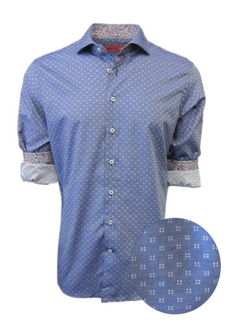 Crisp and cool - easy going pattern with a floral pattern in the cuffs and collar stand. Perfect companion for Khakis and denim. Dress up or laid-back casual the Monarch Beach is  soft and comfortable with athe perfect fit. 100 PIMA COTTON Machine wash or dry clean