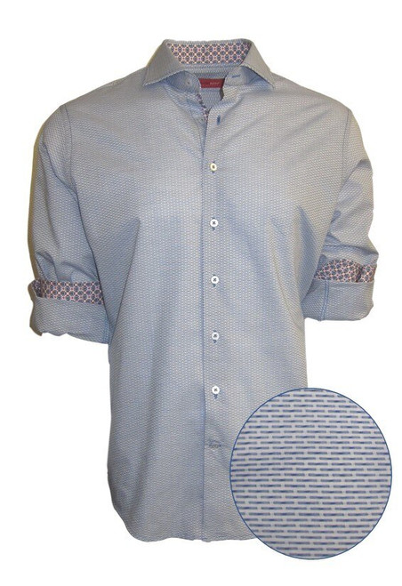 This blue tonal woven all over pattern is striking and sophisticated with a fun mix of pattern play inside the collar and cuffs.  A luxury timeless that you will enjoy daytime or going out! 100% Cotton  Machine wash or dry clean