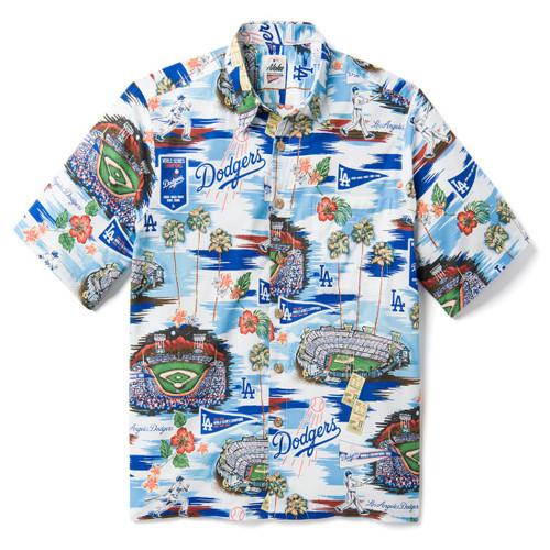 Limited Edition, licensed MLB® product Classic fit:  Cut with a little extra room through the chest and body for relaxed comfort Relaxed Collar Full button front closure Baseball-shaped coconut buttons Short sleeve Print-matched left chest pocket 100% Cotton Machine wash cold, tumble dry low