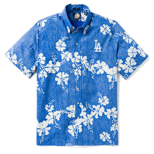 LOS ANGELES DODGERS 50TH STATE CLASSIC FIT BUTTON FRONT  This archival pareau design celebrates Hawaii's iconic state flower, the hibiscus, including a Los Angeles Dodgers MLB patch.  Classic fit:  Cut with a little extra room through the chest and body for relaxed comfort Full button front closure Button-down collar Short sleeve Print-matched left chest pocket Back of the shirt box pleat for extra roomy comfort Side vent with extra button Reverse Print 100% Cotton Designed in Hawaii