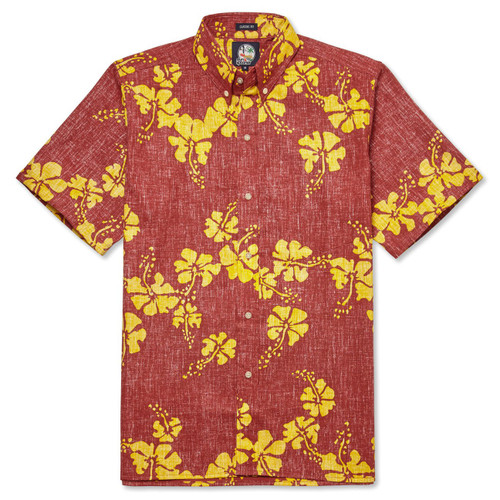 50th STATE FLOWER CLASSIC FIT BUTTON FRONT  This archival pareau design celebrates Hawaii's iconic state flower, the hibiscus, including a Los Angeles Dodgers MLB patch.  Classic fit:  Cut with a little extra room through the chest and body for relaxed comfort Full button front closure Button-down collar Short sleeve Print-matched left chest pocket Back of the shirt box pleat for extra roomy comfort Side vent with extra button Reverse Print 100% Cotton Designed in Hawaii