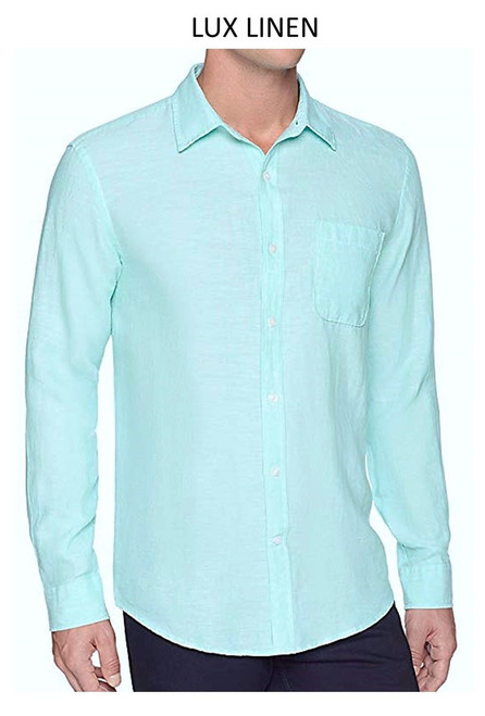 Perfect for warm weather our Long Sleeves Garment Dyed Linen Shirts in a sea breeze Aqua blue. Cool comfort with a relaxed fit, slightly tapered to be worn untucked or paired with a Georg Roth Tee and worn open. Machine or Hand Wash cold, lay flat to try.