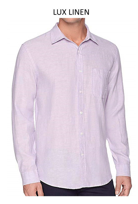 Perfect for warm weather our Long Sleeves Garment Dyed Linen Shirts in a masculine gorgeous lilac. Cool comfort with a relaxed fit, slightly tapered to be worn untucked or paired with a Georg Roth Tee and worn open. Machine or Hand Wash cold, lay flat to try.  .