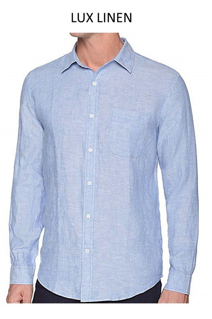 Perfect for warm weather our Long Sleeves Garment Dyed Linen Shirts in a beautiful light blue. Cool comfort with a relaxed fit, slightly tapered to be worn untucked or paired with a Georg Roth Tee and worn open. Machine or Hand Wash cold, lay flat to try.