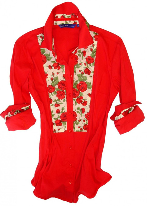 Ulrike is an exceptional addition to any women's wear wardrobe. Comfy red stretch with Liberty of London rose motif contrast in the collar, cuffs & on shoulder panel. Finishing touches of a red crushed velvet ribbon in the collar.
