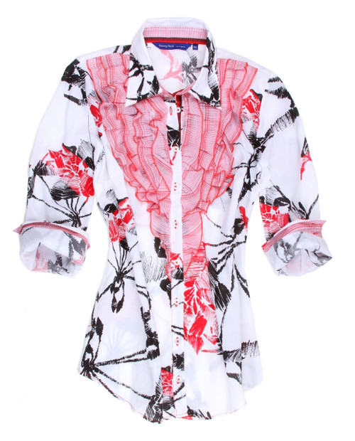 A beautiful white blouse with an abstract black and red flower print. Finished with red patterned ruffles and contrast on inner collar stand and inside the cuffs to match.