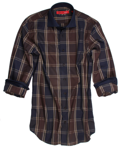 An instantly appealing plaid shirt that gets better the closer you look. The brown, beige and dark blue long sleeve plaid shirt is detailed with a classic dark blue contrast on the collar, cuffs and inside front placket. All seams are done to perfection with contrast stitching in dark blue. 100% Cotton