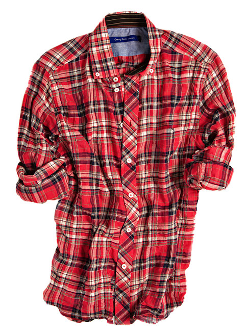 8037-034-Madrid |A refined take on the classic plaid shirt. The laid-back red, ivory and navy long sleeve plaid shirt is detailed with a button-down collar and a midnight blue print inside the collar stand. All seams are done to perfection with contrast stitching in red. 99% Cotton, 1% Spandex