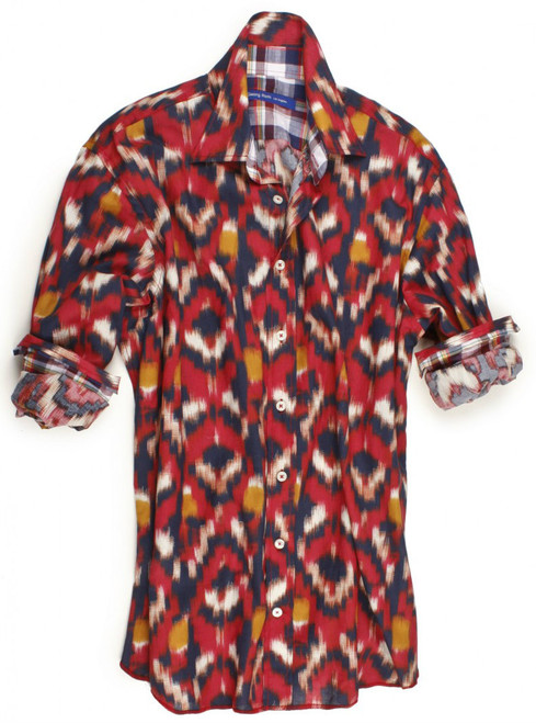 This shirt positively screams summer is here - so don't miss out on our beautiful Santa Fe shirt. The red fantasy print is contrasted with a multicolor plaid inside the collar, cuffs and inside saddle. Details include an extended cuff. All seams are done to perfection with stitching in red. 100% Cotton