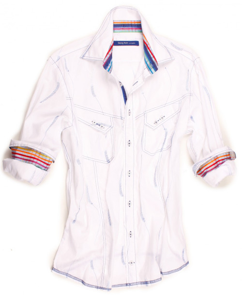 You like to look good without trying hard - that's where this crisp white with blue embroidery long sleeve shirt by Designer Georg Roth Los Angeles comes in. Detailed with a fun multicolor plaid contrast inside the collar stand and cuffs. Completed by 2 breast pockets with button closure. Finishing touches of a blue striped ribbon inside the collar and inside front placket. All seams are done to perfection with contrast stitching in blue. 100% Cotton