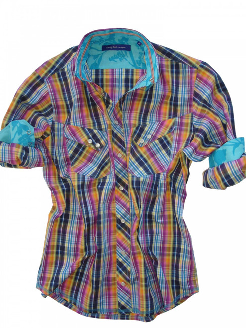 Summertime is literally bursting from this brilliant, blockbuster plaid warmed by all the tones of the sun and the sky. It's light-hearted and irrepressible, just like the season itself. Details include 2 diagonal flap pockets with snap closure and snap buttons on front placket. Contrasted with a turquoise tone on tone floral print inside the collar and cuffs. Finishing touches of an orange & red ribbon inside the collar. All seams are done to perfection with contrast stitching in turquoise.