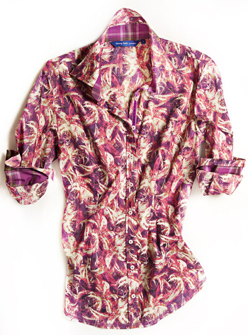 This Georg Roth Los Angels Pia long sleeve blouse has a sophisticated sense of style. The gorgeous Liberty of London shades of lilac and magenta fantasy floral print is detailed with a magenta plaid contrast inside the collar stand and cuffs. Finishing touches of a multicolor fantasy print on the outer collar stand. Highlighted with a lilac crushed velvet ribbon inside front placket. All seams are done to perfection with contrast stitching in lilac. 100% Cotton