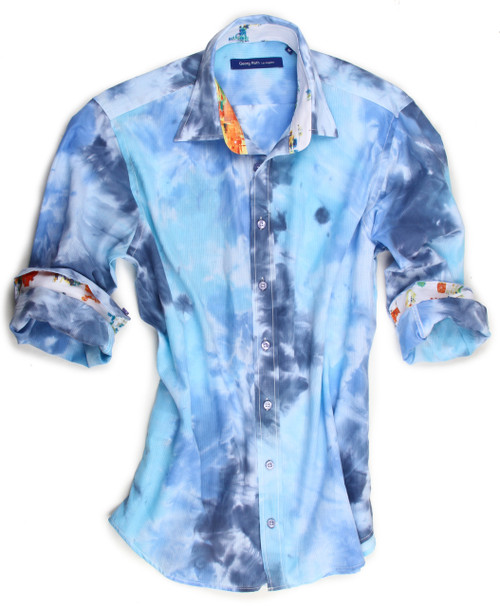 A very special print process on this soft fabric combine comfort and style. Blue tie-dye. Contrast fabric of this multi color digital print in the collar stand and cuffs is a work of art and is perfect FOR ROLLING YOUR SLEEVES the Georg Roth Way!