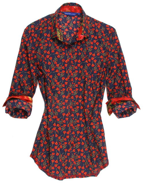 Fun and ever so versatile! Liberty of London mini floral in Red and Navy. Floral print inside double collar and double layer cuffs. 100% Cotton Classic Fit