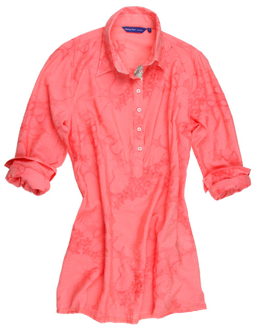 Tunic - Slightly fitted at the waist with a fingertip length   Super soft and drapes making you feel special with a romantic flair. Coral color with a tone on tone embroidery pattern all over. Detailed to perfection with a knit pastel sequin on the inside placket, showing just a peek a boo of it...   75% Viscose/ 25% Nylon