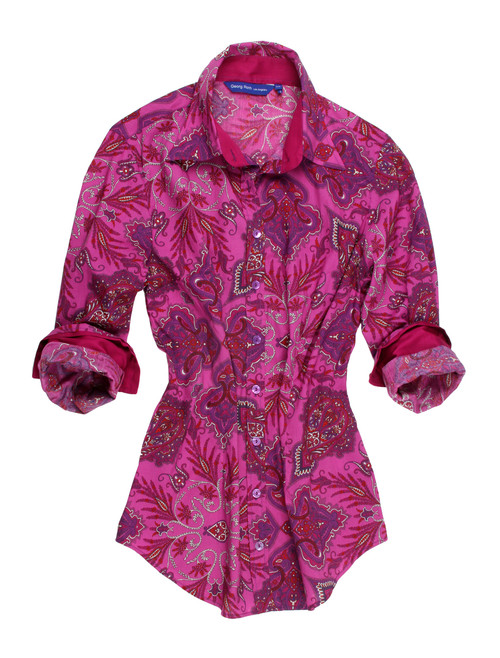 Liberty of London print in stunning Magenta with shades of violet and fuchsia paisley motif. Details of a magenta solid inside the collar stand, 4 button cuffs and outer collar stand are coordinated bringing out the beauty of this magnificent print.  100%Cotton