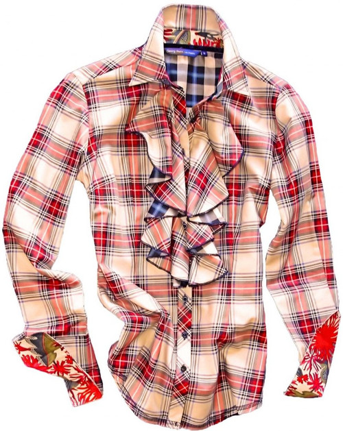 Plaid never looked so good. The gorgeous long sleeve plaid blouse in creme & red is detailed with a ruffle on front bib. Contrasted with a blue & black plaid on the back of ruffles and inside saddle. Finishing touches of a Liberty of London floral contrast inside the collar stand and cuffs. Blue sequins on the outer collar stand give this blouse a glamorous look. All seams are done to perfection with contrast stitching in black.  100% Cotton