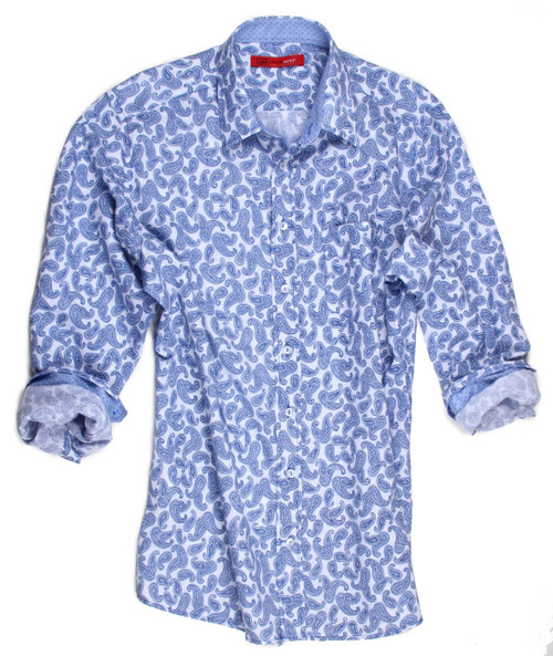 """Who knows better than Georg Roth Los Angeles, that so many of you are asking for the Linen and Cotton fabrication. Well here it is and this is the complete """"Wow"""" factor. Beautifully executed in this simple, but elegant blue and white small paisley it also boasts of the blue on blue small dot print inside the collar and on the sleeves when rolled up. This luxurious fabric is most definitely the look and comfort for the warm summer weather. 55% Linen 45% Cotton"""